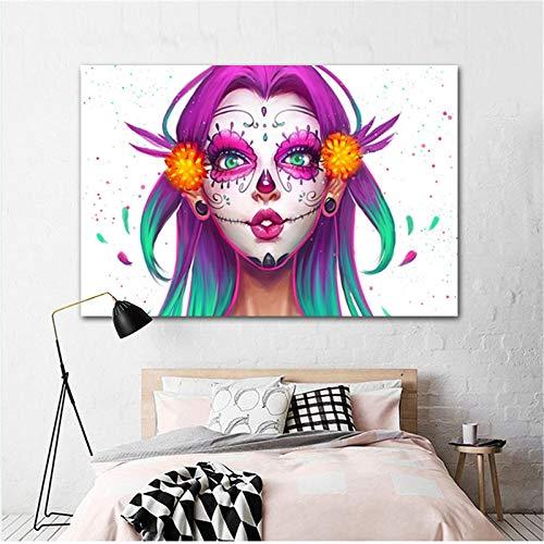 Flduod Abstracte Schoonheid Meisje Canvas Print Aquarel Gezicht Pop Art Home Decor Art Schilderij Foto Voor Slaapkamer Woonkamer 15.7x23.6 inch