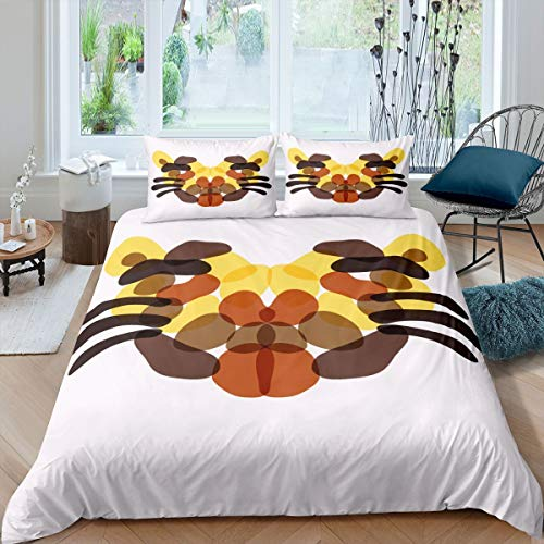 Loussiesd Tiger Bedding Set Cute Safari Cat Print Duvet Cover Chic Abstract Animal Comforter Cover For Kids Adults Bedspread Cover Ultra Soft Room Decor Single Size Bedclothes Zipper