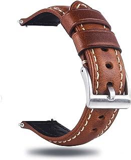 Berfine Snabbfrigörande retro läderklockband, vintage oljegarvad dra upp läderrem ersättning, val av bredd – 18 mm 20 mm 2...