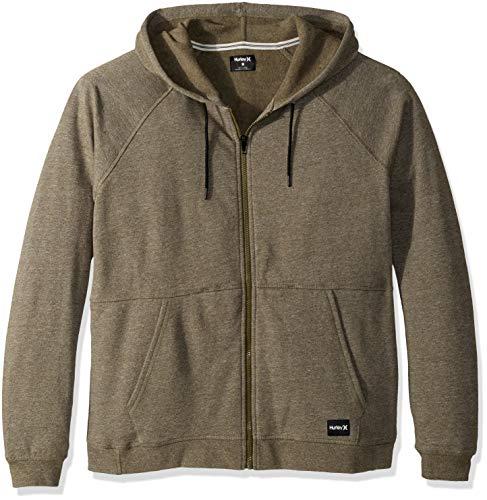Hurley Men's Crone Marled Texture Hoodie Zip Fleece, Olive Canvas Heather, L