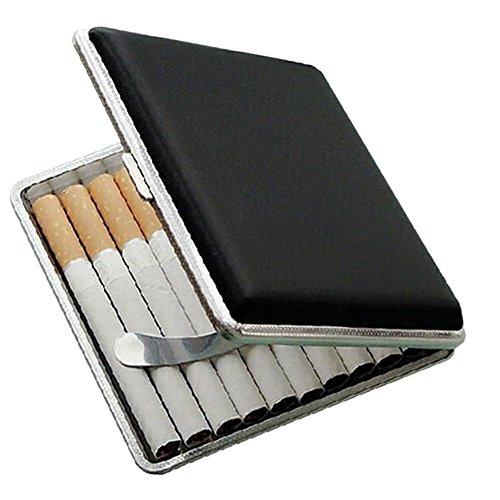 Zigarettenhalter für 20 Zigaretten, schwarz, Lederimitat, Metall, Tabakdose, Zigarettenetui, Aufbewahrungsdose
