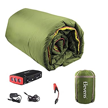 Elevens 3-in-1 Battery Powered Down Blanket for 4-Season Traveling, Camping, Hiking & Outdoor Activities (Green)