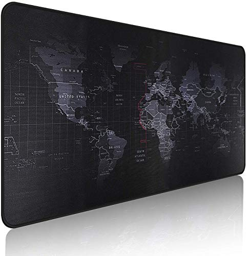 ALSISK XXL Large Gaming Mouse Map Pad 35.4X15.74X0.12 Inch(900X400X3MM),with Non-Slip Base,Waterproof and Foldable Pad,Desktop Pad Suitable for Gamers,Suitable for Desktop,Office and Home