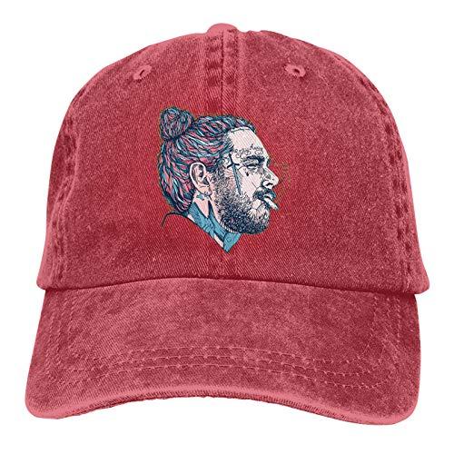 Po-st Malo-ne Rapper Art Poster Cotton Adjustable Dad Hats Graphic Denim Snapback Caps for Men Women Red