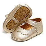 SOFMUO Baby Girls Mary Jane Flats Non-Slip Soft Rubber Sole Infant Sneakers Toddler Princess Dress Walking Shoes(Gold,6-12 Months)