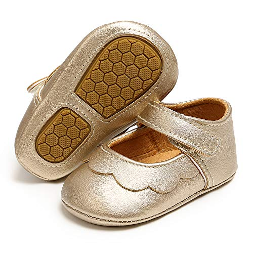 ENERCAKE Infant Baby Girls Shoes Non-Slip Bowknot Princess Dress Mary Jane Flats Toddler First Walker Baby Sneaker Shoes(12-18 Months Toddler, I-Gold)