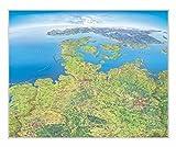 Panoramakarte Norddeutschland, einseitig laminiert