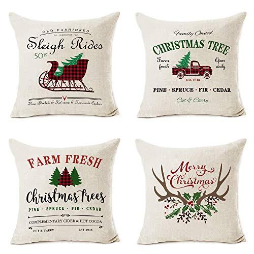Pinata - Juego de 4 fundas de almohada navideñas, 40 x 18 cm, algodón de primera calidad, lino y lino, rústico, casa de campo de búfalo, fundas de almohada para sofá, decoración del hogar