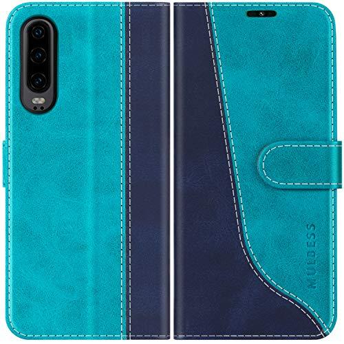 Mulbess Handyhülle für Samsung Galaxy A30s Hülle Leder, Samsung Galaxy A50 Handy Hüllen, Modisch Flip Handytasche Schutzhülle für Samsung Galaxy A30s / A50, Mint Blau