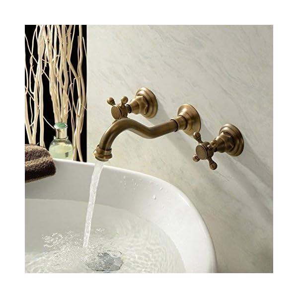 Dos manijas de montaje en pared de latón antiguo grifo de lavabo de baño de bañera mezclador grifos de curva larga para…