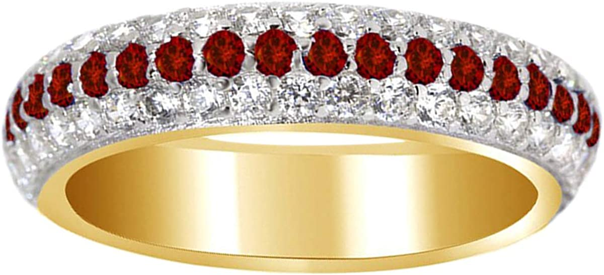 Round Red Ruby 14K White Gold Plate 925 Sterling Silver Eternity Ring