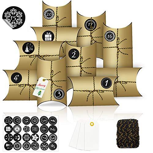 Calendario de Adviento, Almohada Cajas,DIY Bolsa de Regalo Navidad,almohada cajas de regalo con Pegatinas,Rellenar Calendario de Adviento,Cajas de Regalo Pequeñas con Adhesivos Digitales (F)