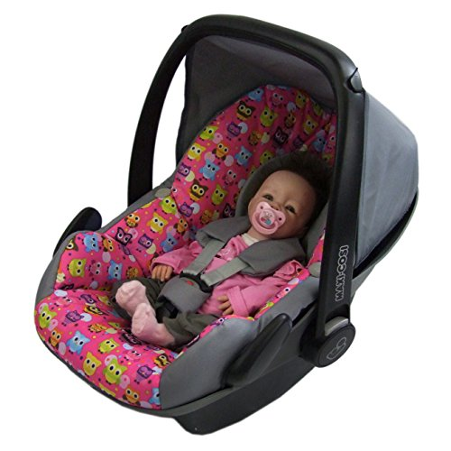 BAMBINIWELT Ersatzbezug für Maxi-Cosi PEBBLE 5-tlg, Bezug für Babyschale, Komplett-Set *NEU* GRAU PINK BUNTE EULEN