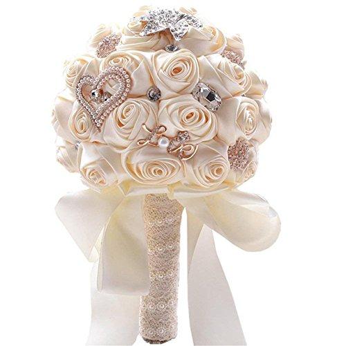 Fouriding, bouquet di rose in raso con perle di diamante, per damigella d'onore, bouquet da sposa per foto, San Valentino, compleanno (crema)