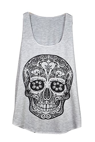 Tattoo Design Mexican Skull Head CUBANISTO Summer Damen Women Tank TOP Shirt - ONE Size