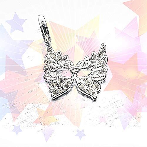 Angelazy Colgantes De para Mujer,Romántico De Moda Cute Chainless Mosaico Forma De Alas De Mariposa De Zircón Encante para Damas Accesorios Joyas Regalo De Cumpleaños Parte A