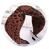 de 2019 leopardo de la manera mujeres de la venda pelo de la manera arriba elástico ancho de lado Cruz venda del nudo Para adlut niñas Headwear turbante, diadema de café