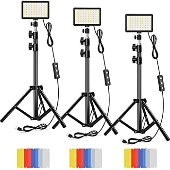 Led Video Lighting Kit Dimmable 5600K USB 70 LED Video Light with Mini Adjustable Tripod Stand and Color Filters for Table Top/Low Angle Photo Video Studio Shooting  3 Pack