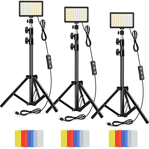 Led Video Lighting Kit Dimmable 5600K USB 70 LED Video Light with Mini Adjustable Tripod Stand and Color Filters for Table Top/Low Angle Photo Video Studio Shooting (3 Pack)