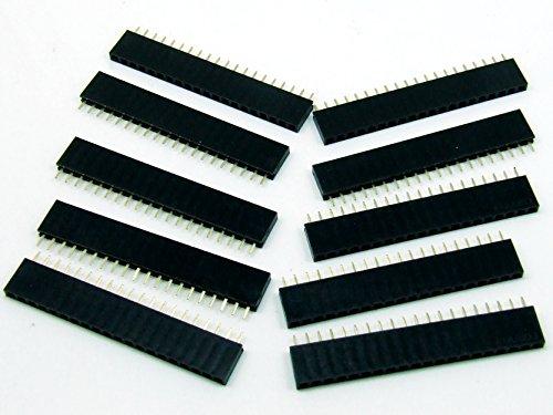 Stk.10 x BUCHSENLEISTE / HEADER 20 polig/pin 2.54mm Arduino bauweise / style #A798