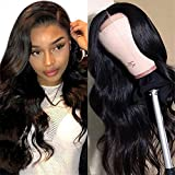 Body Wave Lace Front Wig Human Hair 4x4 Lace Closure Wigs for Black Women 150% Density Brazilian Virgin Hair Wigs Pre Plucked with Baby Hair 4x4 Lace Front Wigs Natural Color (16 Inch)