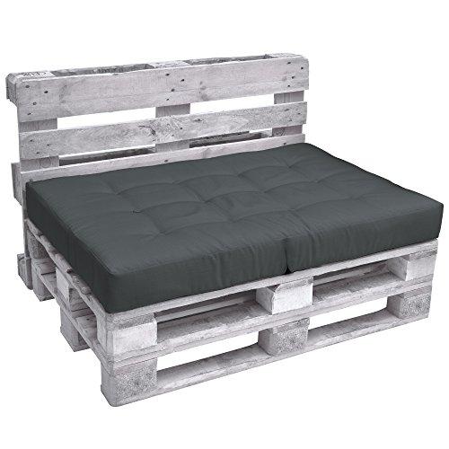 Beautissu Palettenkissen Premium Sitzkissen 120x80x15 cm – ECO Elements klappbares Sitzkissen für Europaletten Palettenmöbel - Palettenpolster klappbar in Grau