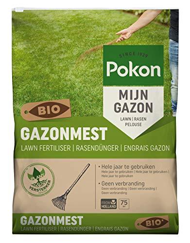 Pokon Bio Rasendünger mit Sofort und Langzeitwirkung zur Ganzjahres- Rasenpflege, mit Extra Magnesium, 75qm, 5kg