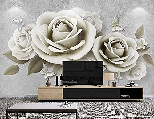 ZZXIAO Geprägte Schmetterling Rose Badezimmer Tapete Schlafzimmer Tapete Wohnzimmer Küche Tapete wandpapier fototapete 3d effekt tapete Wohnzimmer Schlafzimmer Hintergrundbild-300cm×210cm