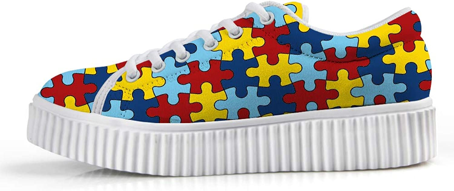 Platform Lace up Sneaker Casual Chunky Walking shoes Low Top Women Autism Awareness Puzzle