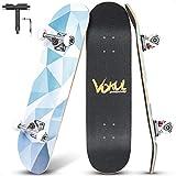 VOKUL Skateboard, 80,6 x 19,8 cm estándar Skateboards para niños, adolescentes, adultos, niños, niñas y niños, 7 capas de arce canadiense, doble patada para principiantes profesionales