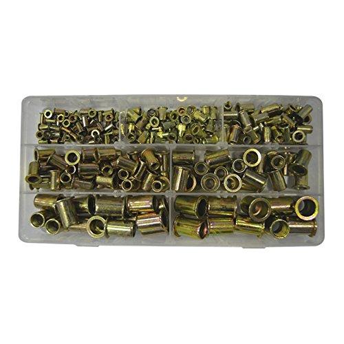 JBM 52703 Maletín de tuercas de remache de cabeza plana, 235 piezas