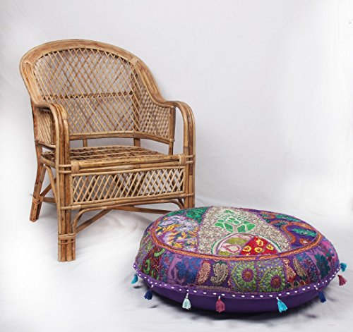 Jaipur Textile Hub Patchwork Cotton Boho Chic Bohemian Hand Embroidered Round Floor Pillows & Cushion Cover Seating Pouf Ottoman (Purpel, 32 inch Approx)