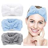 Bowknot Haarband für Make up - 3 Stück Kosmetische Stirnbänder Korallen Samt Elastisches Haarband zum Waschen Spa Yoga Beauty Gesichtspflege Make-up für Damen (White+Grau+Hellblau)