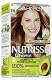 Garnier Nutrisse Creme Coloration Nude Natürliches Mittelblond 7N / Färbung für Haare für permanente Haarfarbe (mit 3 nährenden Ölen) - 3 x 1 Stück