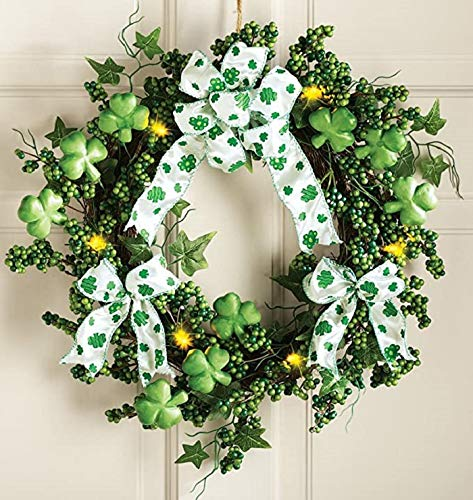 Junqin St Patrick's Day Rabbit Wreath for Front Door, St Patrick's Day Decor Hanging Ornaments for The Home,Easter Wreath Door Signs,Easter Rabbit Shape Garland for Outdoor Door Wall Decor. (G)-E