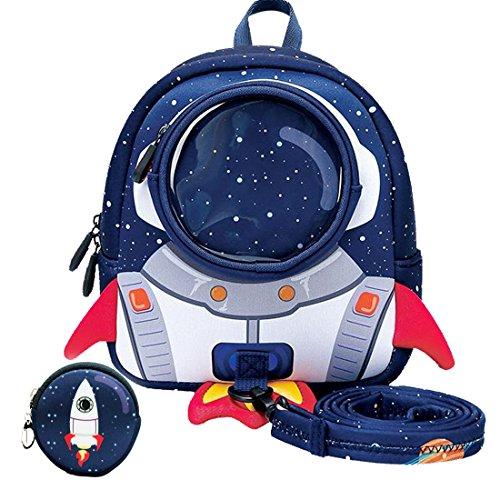 yisibo Kinder Rucksäcke Kindergarten Vorschule Kleinkind Jungen/Mädchen Rucksack 3D Tier Tasche Schultaschen Rucksack Kind Niedliche Kindergarten Rucksack, Age 3-6(Rakete-Blau)