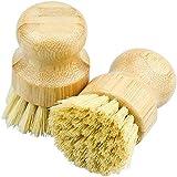 2 PCS Cepillo de champiñones Cepillo de olla de vegetal Cerdas, cepillo de enjuague Cepillo redondo Cepillo de cocina hecho de bambú para limpiar ollas, sartenes, platos, cubiertos ( Color : A )