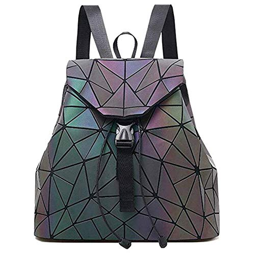 SHUIBIAN Frauen Rucksack Luminous Geometric Holographische Nightglowing Mode Bunte Rhombische Daypack Rucksack Taschen für Frauen Mädchen Campus Outdoor Reise