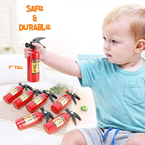 7 Inch Fire Extinguisher Squirt Toys - 12 Pack - Firefighter Water Guns with Realistic Design - Fun Fireman Squirters for Kids Party Favors