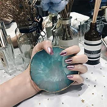 MISUD Metallic Fake Nails Pink Oval Sharp Gorgeous Mirror Design Reflection Press-on False Nails Chrome Nails for Wedding Salon Party