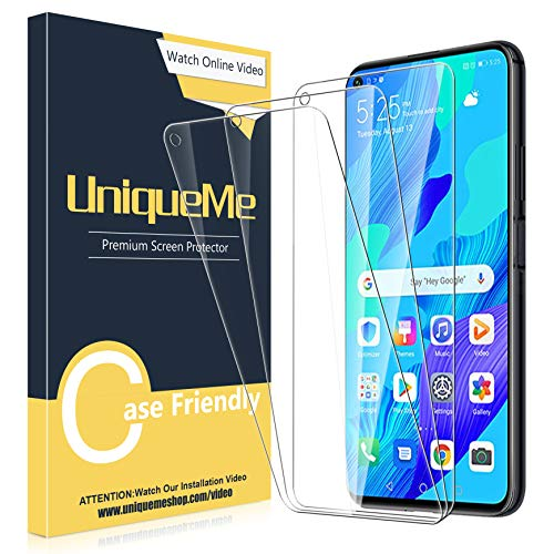 UniqueMe [3 Stück] Schutzfolie für Huawei Nova 5T Panzerglas, HD klar gehärtetes Glas Bildschirmschutz [9H Festigkeit Folie] [Anti-Fingerabdruck] Bildschirmschutzfolie