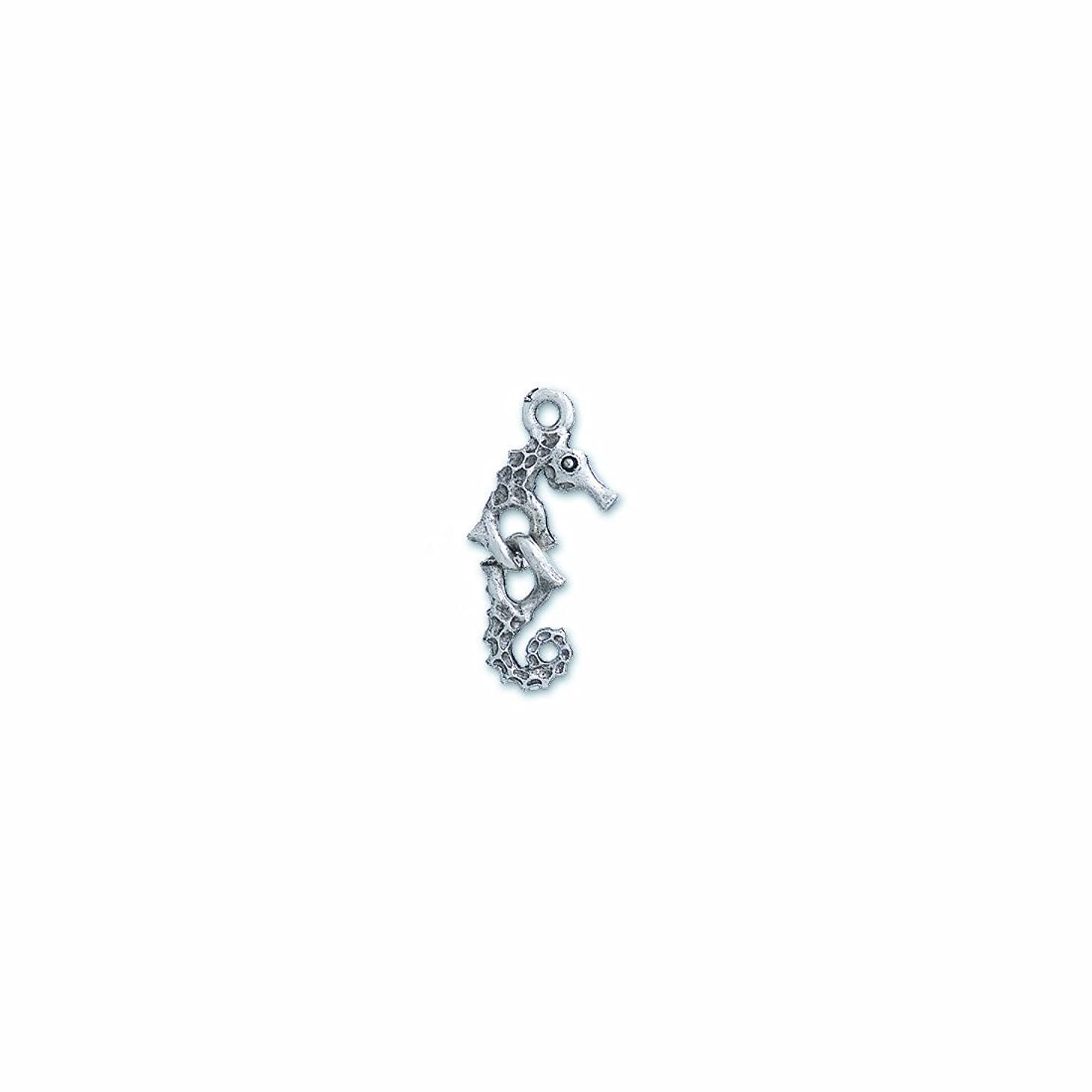 Shipwreck Beads Pewter Sectional Seahorse Charm, Silver, 10 by 26mm, 4-Piece