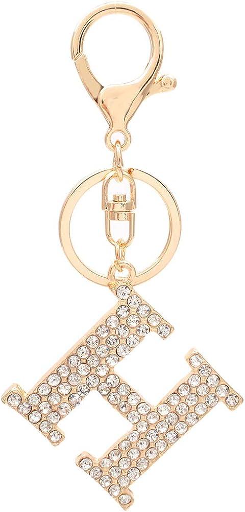 HOYUNLA Initial Letter Keychain Crystal Alphabet Keyring for Women Backpack Car Key Chain Decoration