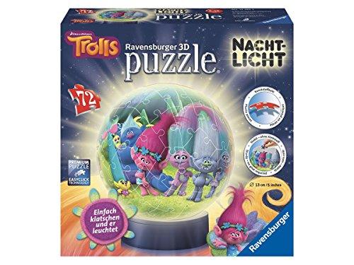 Ravensburger 3D-Puzzle 12195 - Trolls: 3D Puzzle-Ball, 72-teilig Nachtlich