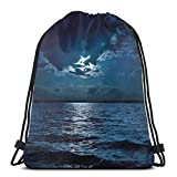 LLiopn Drawstring Sack Backpacks Bags,Majestic Dramatic Sky Clouds And Full Moon Over Seascape Calm Tranquil Ocean,Adjustable.,5 Liter Capacity,Adjustable.