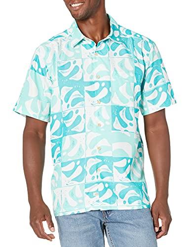 Quiksilver Herren Comfort Fit Button Down Hawaiian Shirt Klassisches Hemd, Blauer, türkiser Frondy, X-Groß
