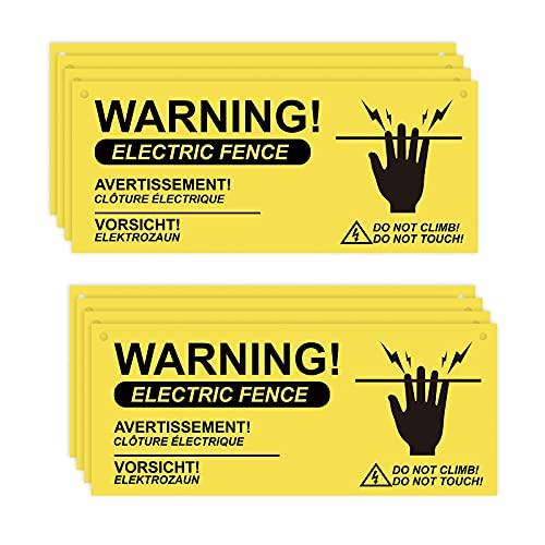 AIEX 8 StückWarnschilder für ElektrozäuneKunststoff WarnschilderKein Berührendes Oder Kletterndes Schild für Gefahr Elektrozaunschild Farm Daheim Lager Garten Yard(26x11cm)