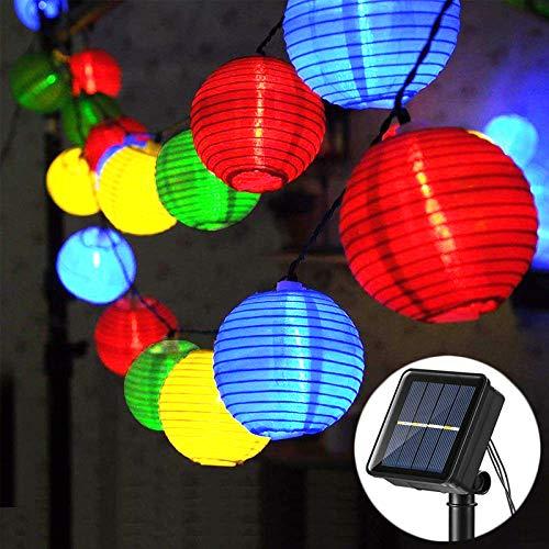 Guirnalda Luces Exterior Solares, 6,5M Luces de LED Lantern 30 Farolillos Luz Cadena, 8 Modos IP65 Impermeable Interior y Exterior Luz Solar para Jardín, Navidad, Terraza, Fiestas (Multicolor)