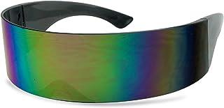 نظارات شمسية سوداء كلاسيكية ذات درع واحد بلون كبير ملفوف / قناع