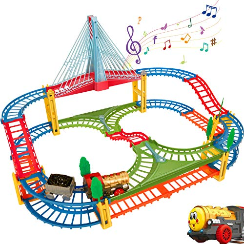 BeebeeRun Kids Car Race Track Set, Flexible Train Tracks for Toddlers with...